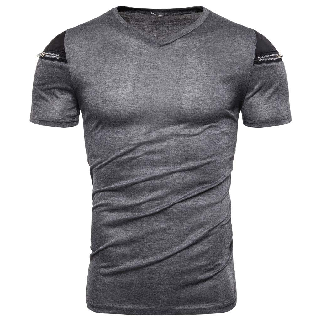 Men Zipper Pure Color Splicing Pattern Casual Fashion Lapel Short Sleeve Shirt