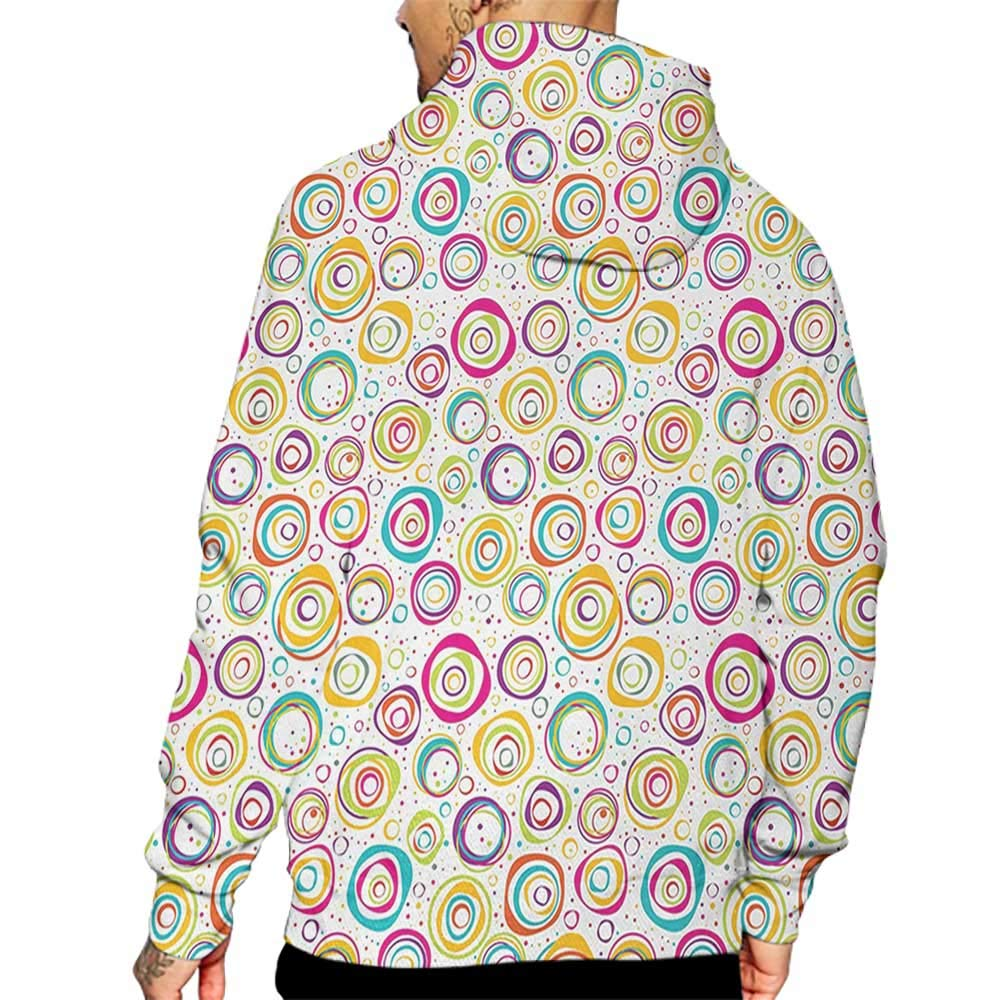 Hoodies Sweatshirt/Men 3D Print Abstract,Pattern with Circles and Dots Bubble Rings Spotted Springtime Enjoyment Theme,Multicolor Sweatshirts for Men Prime