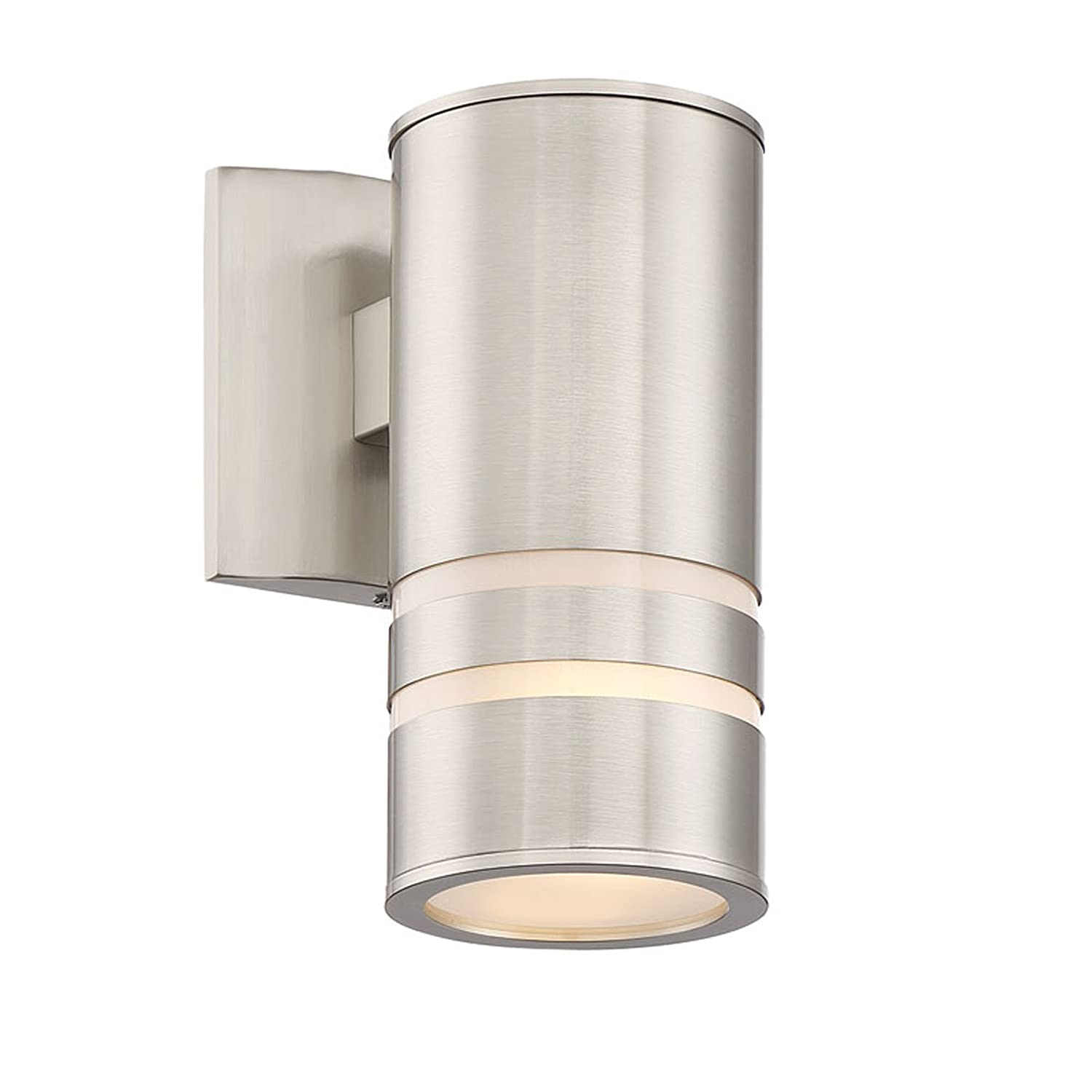 """Kira Home Rockwell 8.5"""" Modern Cylinder Outdoor Light/Wall Sconce, Brushed Nickel Finish"""