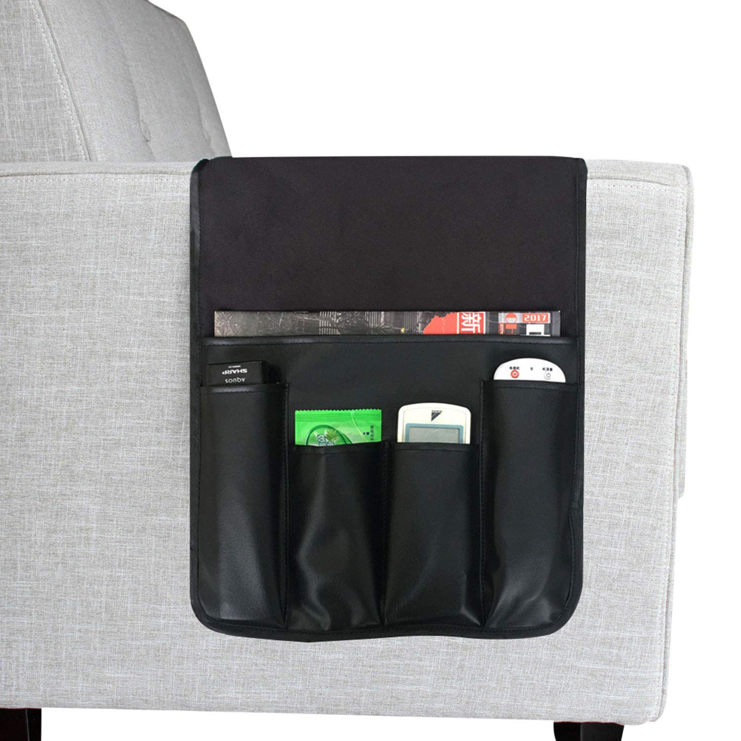 Clobeau Armrest Caddy,Couch Caddy Remote Organizer Magazine Holders Armchair Caddy Arm Chair Remote Control Sofa Caddy Arm Rest Holder Pocket Organizer Space Saver for Remote,Cell Phone,Books,Pencils