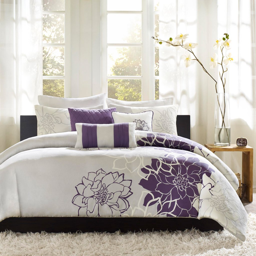 Madison Park Lola 6 Piece Printed Duvet Cover Set, King/Cal King Size, Purple