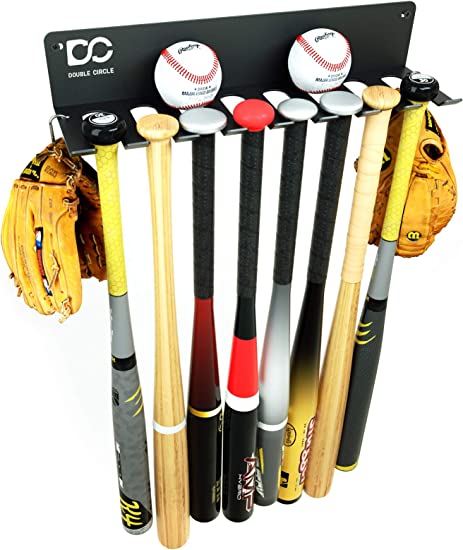 2pcs Metal /& rubber Baseball Bat Rack Wall Shelf Display full size baseball bats