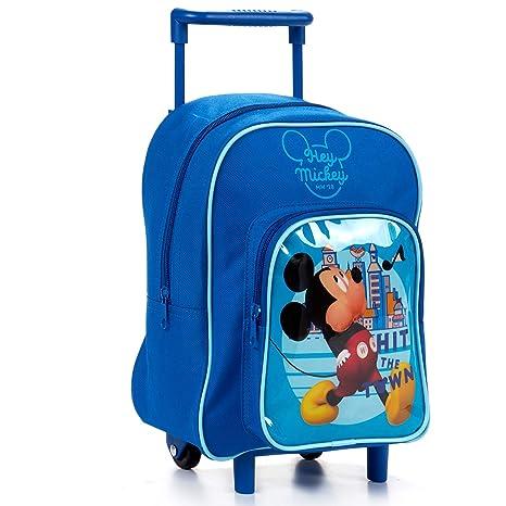 Tendencia ÚNICA Mochila-Carro Escolar Infantil con Imagen de Mickey Mouse, de 24,