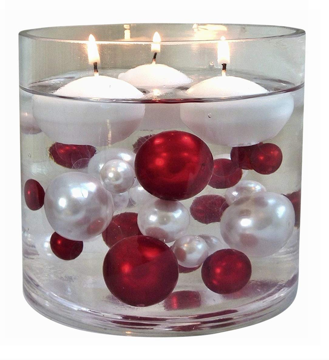 120 Floating NO Hole Red & White Pearls with Matching Gems - Jumbo/Assorted Sizes Vase Decorations & Table Scatters + Includes Transparent Water Gels Packets for Floating The Pearls