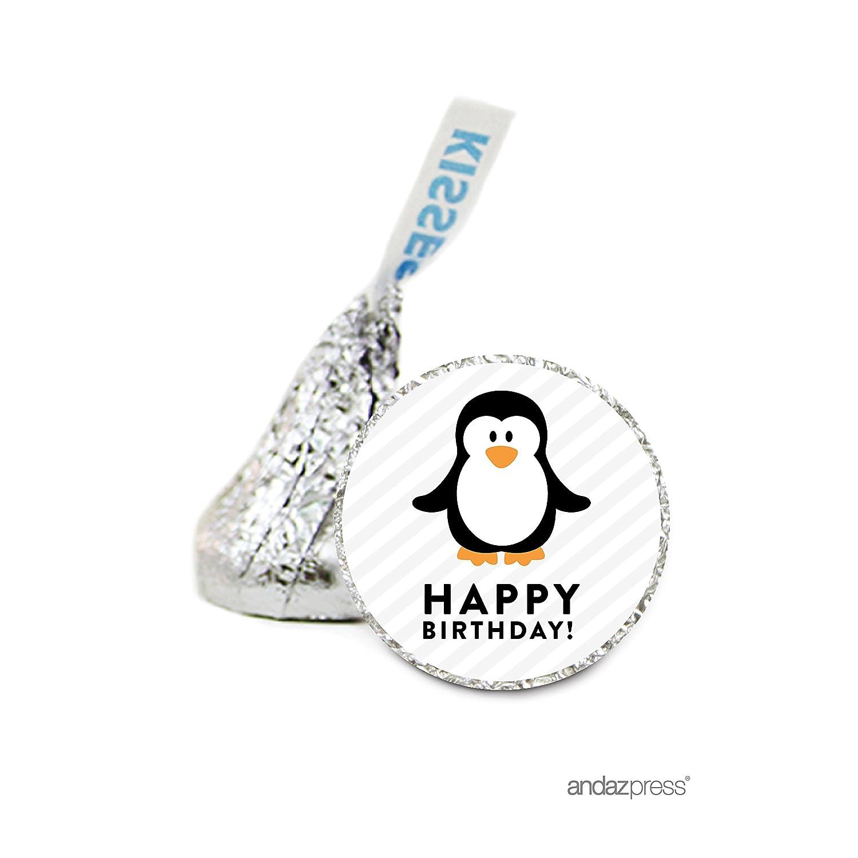 Andaz Press Chocolate Drop Labels stickers, Birthday ANIMAL PENGUIN