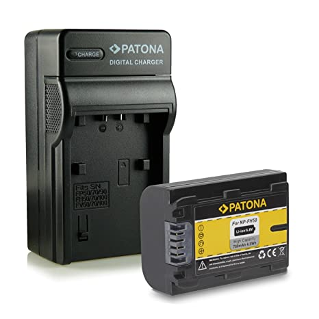 PATONA 4en1 Cargador + Batería NP-FH50 para Sony CyberShot DSC-HX1 | HX100V | HX200V | DSLR Alpha 230 | 330 | 380 | 390