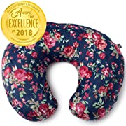 Minky Nursing Pillow Cover | Navy Floral Pattern Slipcover | Best for Breastfeeding Moms | Soft Fabric Fits Snug On Infant Nursing Pillows to Aid Mothers While Breast Feeding | Great Baby Shower Gift