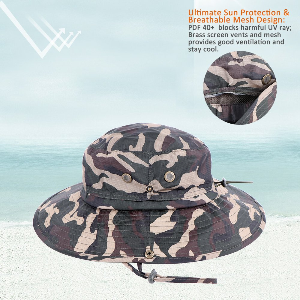 b51e1215f20 Amazon.com   Anyoo Outdoor Boonie Hat Breathable Wide Brim Summer Sun Cap  UV Protection Fishing Camouflage Hat for Men and Women
