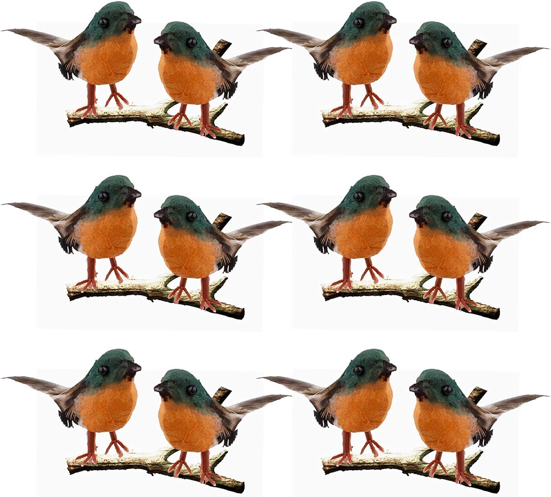 Artificial Feather Robin Bird, 12PCS Simulation Foam Robin Birds, Christmas Tree DIY Crafts Ornament, Mini Bird Figurine/Statue/Sculpture for Home Weddings Garden Indoor Outdoor Decor