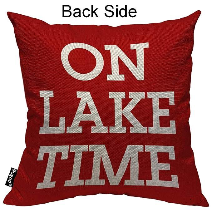 Amazon.com: Mugod On Lake Time Funda de almohada divertida ...