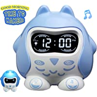 Rocam Alarm Clock for Kids, Toddler Sleep Training Wake Up Light Clock, Digital Sleep Sound Machine with Soothing Lullaby, 7 Color Changing Night Light, Battery Operated, Sleep Timer for Bedroom, Boys