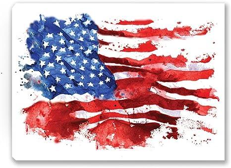 America Wall Art USA Wall Decor. USA Flag Canvas Brushed American Flag Canvas