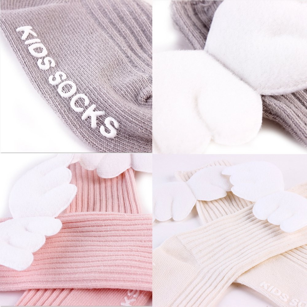 4 Pairs Baby Knee High Socks for Girls Boys Newborn Stockings Cotton Toddler Angel Wings New 2018 (S) by LUDASI (Image #6)