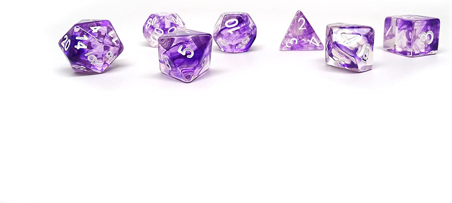 Polyhedral Dice Set Free Carrying Bag Purple Glacier Hand Checked Quality 7 Piece Pristine Edition
