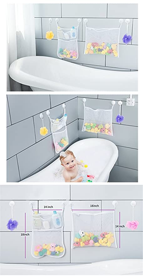 BrilliantDay Mesh Bath Toy Organizer The Perfect Net for Bathtub Toys and Bathroom Storage#3 4 Ultra Strong Hooks