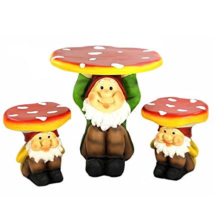 Perfect 3 Piece Jolly Gnome Table And Chair Novelty Garden Furniture Set