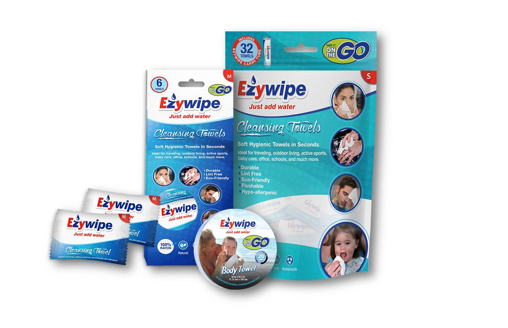 Ezywipe Compressed Cleansing Towels Baby Bundle 100% Rayon Certified Bio-degradable Hypo-allergenic Anti-Microbial Anti-Bacterial for Travel Camping Home Family Personal Senior Pet Care