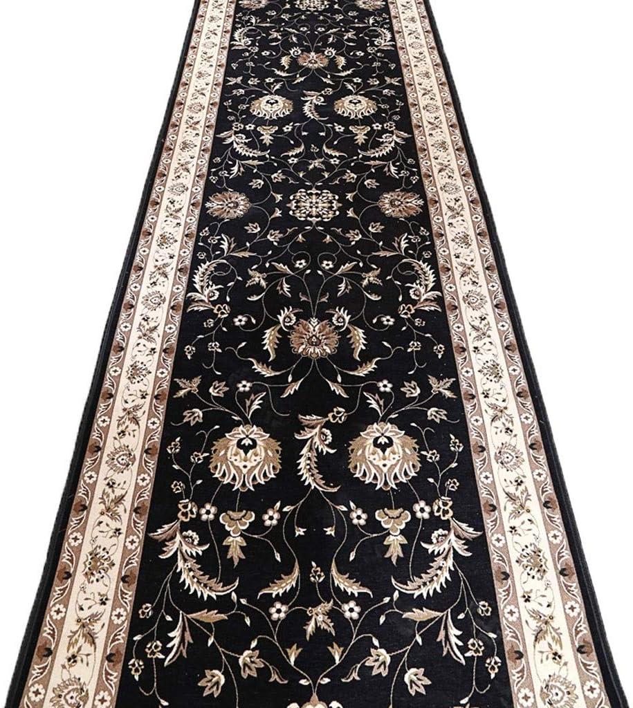Lisi Hallway Carpet European Style Extra Long Corridor Rug For Living Room Kitchen Non Slip Runner 90x800cm Color Navy Blue Size 90x700cm Furniture Decor