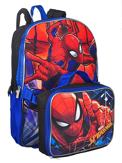 Marvel Spiderman Backpack Bags Kids' Clothes, Shoes & Accs. Detachable Pencil Case Travel Lunch Bag Rucksack