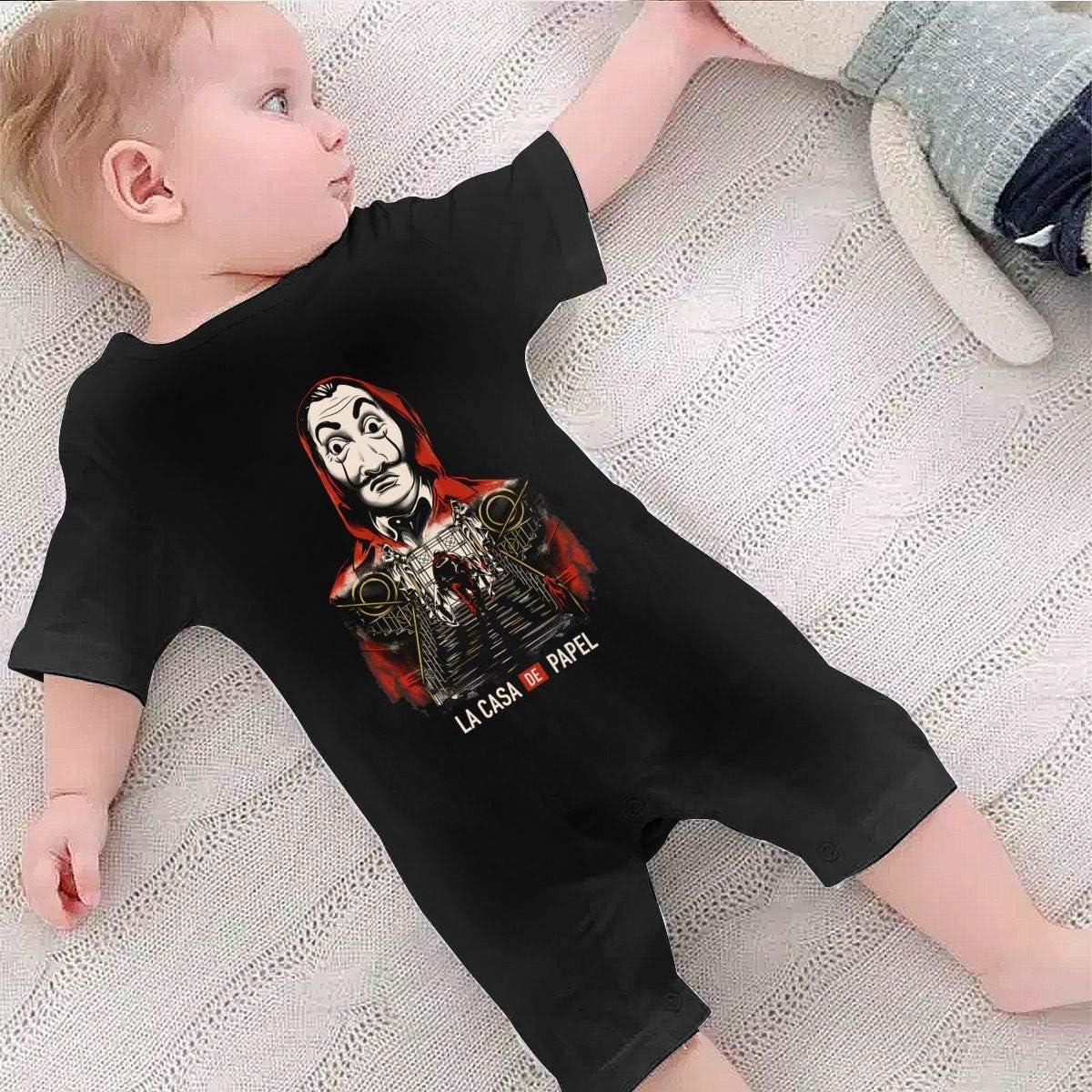 La Casa De Papel 1-24 Months Boy Girl Baby Short Sleeve Creeper Jumpsuit Black