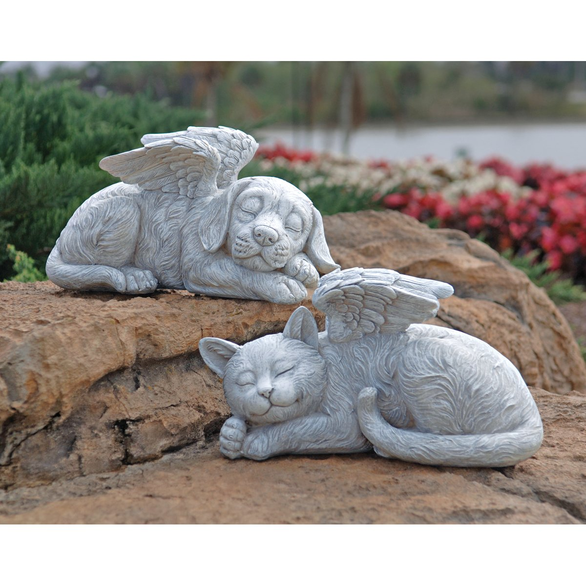 Design Toscano Cat Angel Pet MemorialGrave Marker Tribute Statue, 10 Inch, Polyresin, Stone Finish