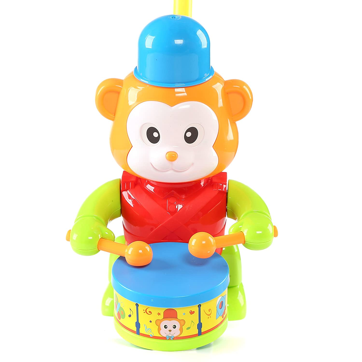 Fun Central BC901 1 Pc 8.5 Inches Monkey Push Toy Pushing Toy for Kids Outdoor Push Toys Classic Push and Pull Toys Push Around Toy for Baptism Birthday and Party Prizes