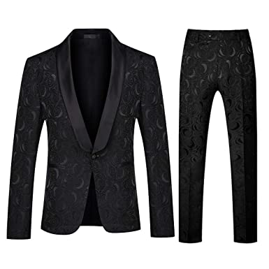 725a4558a5547a Image Unavailable. Image not available for. Color: YFFUSHI Men's 1 Button 2  Piece White Tuxedo Shawl Collar Skinny Dress