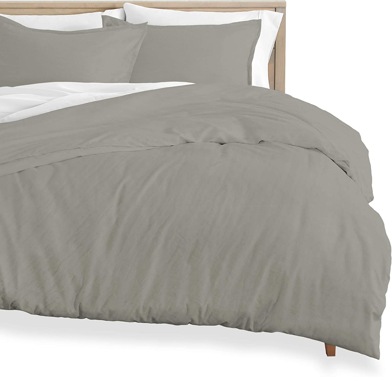 Bare Home Washed Duvet Cover and Sham Set - Full Size - Premium 1800 Ultra-Soft Brushed Microfiber - Hypoallergenic, Easy Care, Stain Resistant (Full, Sandwashed Frost Grey)