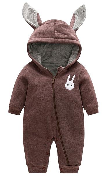 LUOTING - Mono Pelele Ropa de Una Pieza con Capucha Orejas de Conejo Calentitos Enterizo para 0-3 Años Bebés Niños Niñas: Amazon.es: Ropa y accesorios