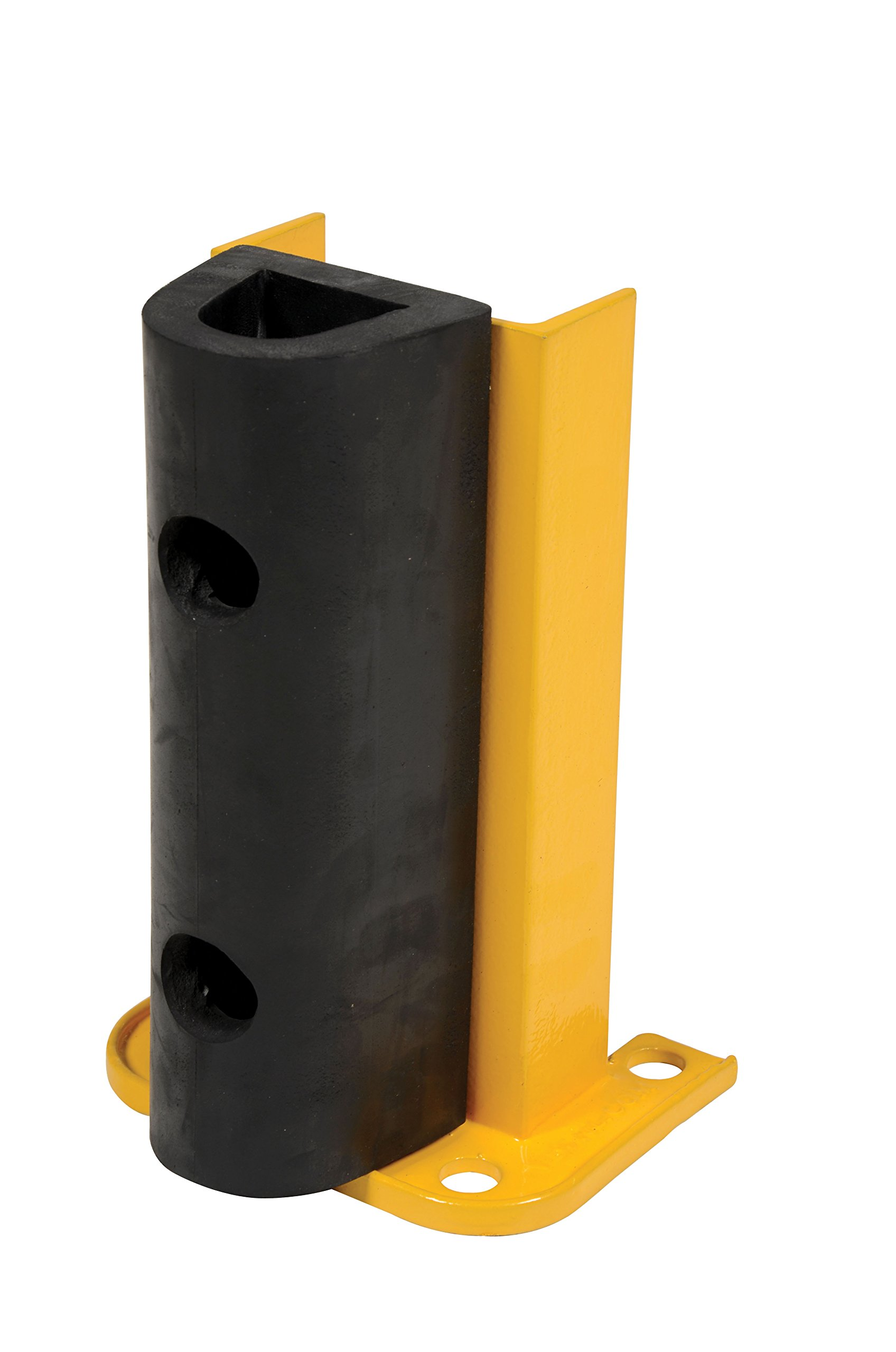 Vestil G6-12-B Structural Steel Rack Guard with Rubber Bumper, 4 Mounting Holes, 12-1/4'' Height, Base Measures 8-1/16'' x 6'', Safety Yellow