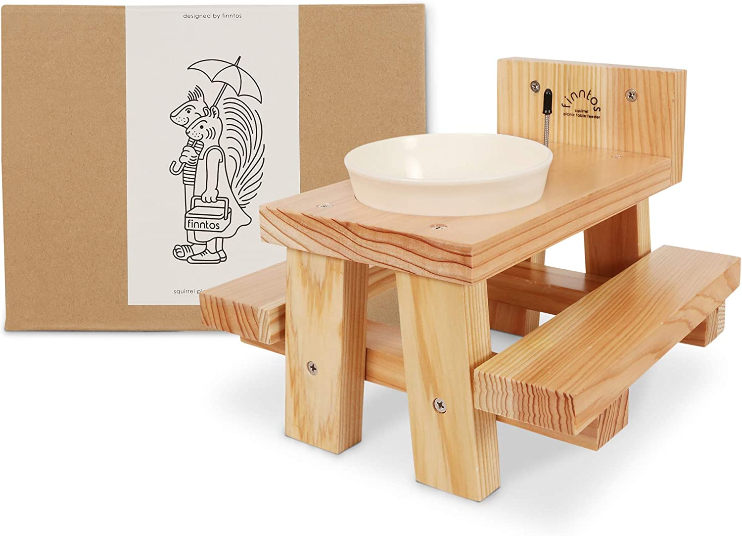 Squirrel picnic table feeder for outdoors, corn cob holder, bowl for squirrel food, peanuts, nuts and water, Easy to install. Great for gifts. Built strong, 100% FSC Certified wood responsibly made.