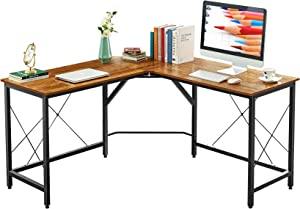 "Mr IRONSTONE L-Shaped Desk 59"" Computer Corner Desk, Home Gaming Desk, Office Writing Workstation, Space-Saving, Easy to Assemble (Vintage)"