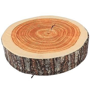 Marrón Árbol de madera Suave y redonda Silla de felpa Cojín ...