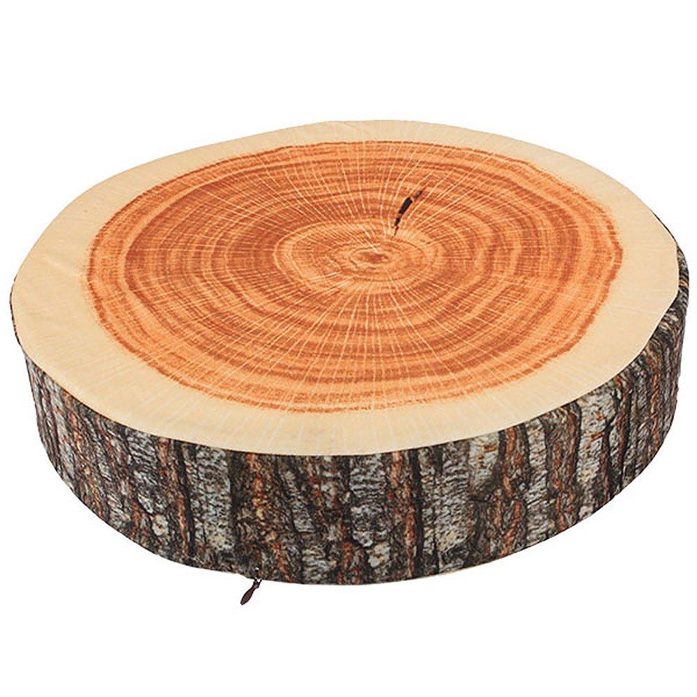 BQLZR Brown Wood Tree Round Soft Plush Chair Seat Cushion Decorative Throw Pillow Tree Ring Back Cushion