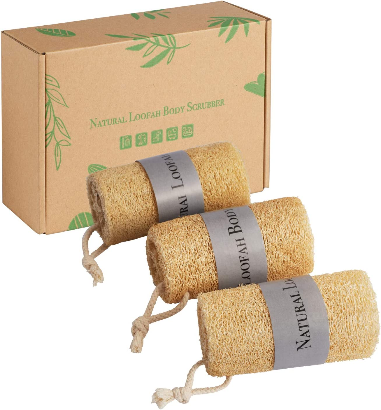 Natural Loofah Sponge Exfoliating Scrubber, Body Shower Bath Luffa Organic Exfoliator Men & Women, 100% Eco-Friendly Loofahs Brush Sponge: Health & Personal Care