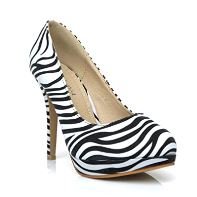 c6492d8e0ba8 EVE Zebra Print Microfibre Stiletto High Heel Platform Court Shoes Size UK  3 EU 36