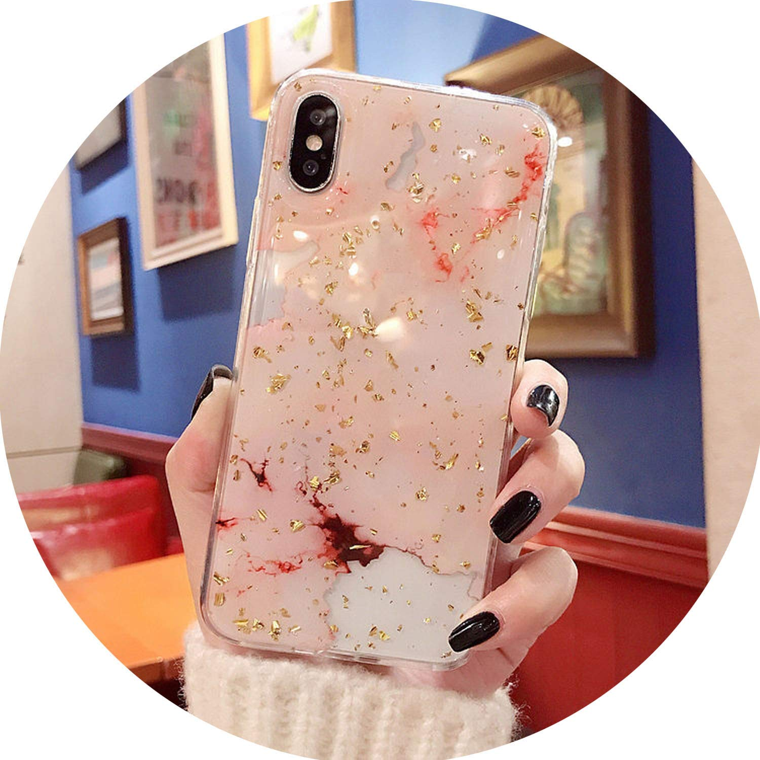 Bling Gold Foil Marble Phone Case for iPhone X XS Max XR Cover Hole Soft TPU Cases for iPhone 7 8 6 6s Plus Glitter Capa,Pink,for XS Max (6.5inch)