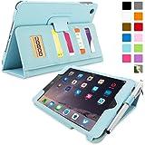 iPad Mini 3 Case, Snugg™ - Executive Smart Cover With Card Slots & Lifetime Guarantee (Baby Blue Leather) for Apple iPad Mini 3 (2014)