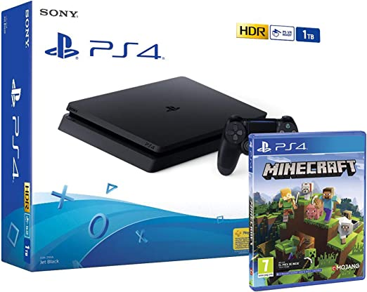 PS4 Slim 1Tb Negra Playstation 4 Consola + Minecraft