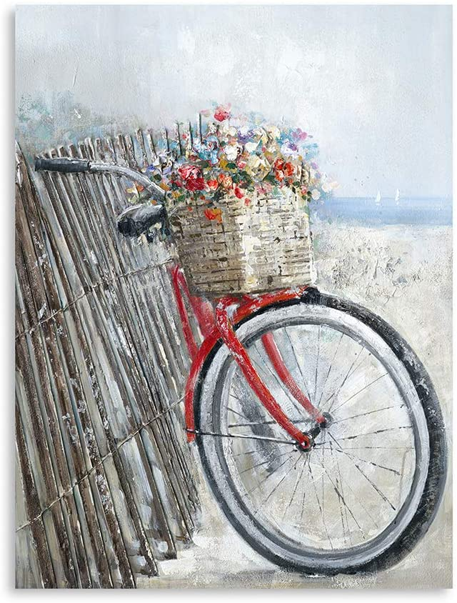 "Flower Bike Painting Wall Art: Bicycle to The Beach With Flower Artwork Decor Living Room Wall Art with Frame Easy to Hang (24""x32""x1 Panel)"