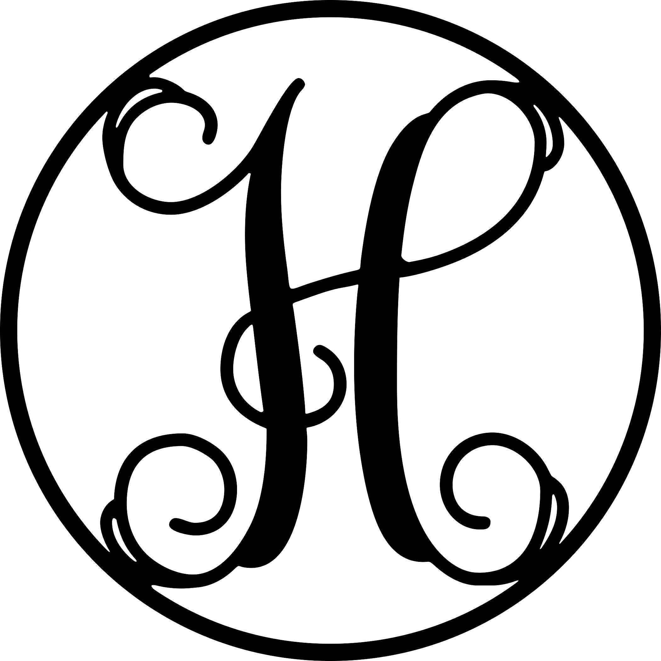 AJD Designs 22CR H Monogram Letter Circle H