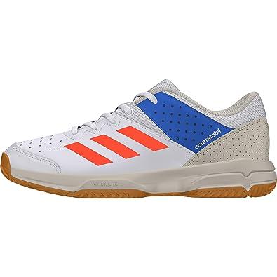 cheap for discount 05f3d f243a adidas Court Stabil Jr, Chaussures de Handball mixte enfant - Blanc  (Ftwbla Rojsol