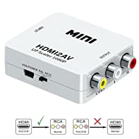 HDMI to RCA, HDMI to AV, GANA 1080P HDMI to AV 3RCA CVBs Composite Video Audio Converter Adapter Supporting PAL/NTSC with USB Charge Cable