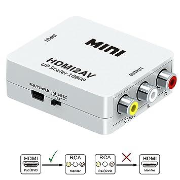 HDMI a RCA, HDMI A AV, gana 1080P HDMI a AV 3 RCA CVBS Vídeo Compuesto Audio Converter adaptador apoyo PAL/NTSC con USB cable de carga: Amazon.es: ...