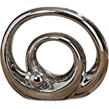 The Crosby Street Infinity Ring and Ball Sculpture Modern Art, Silver Titanium Glaze, Ceramic Stoneware, Approximately 8 1/4 Inch Diameter, By Whole House Worlds