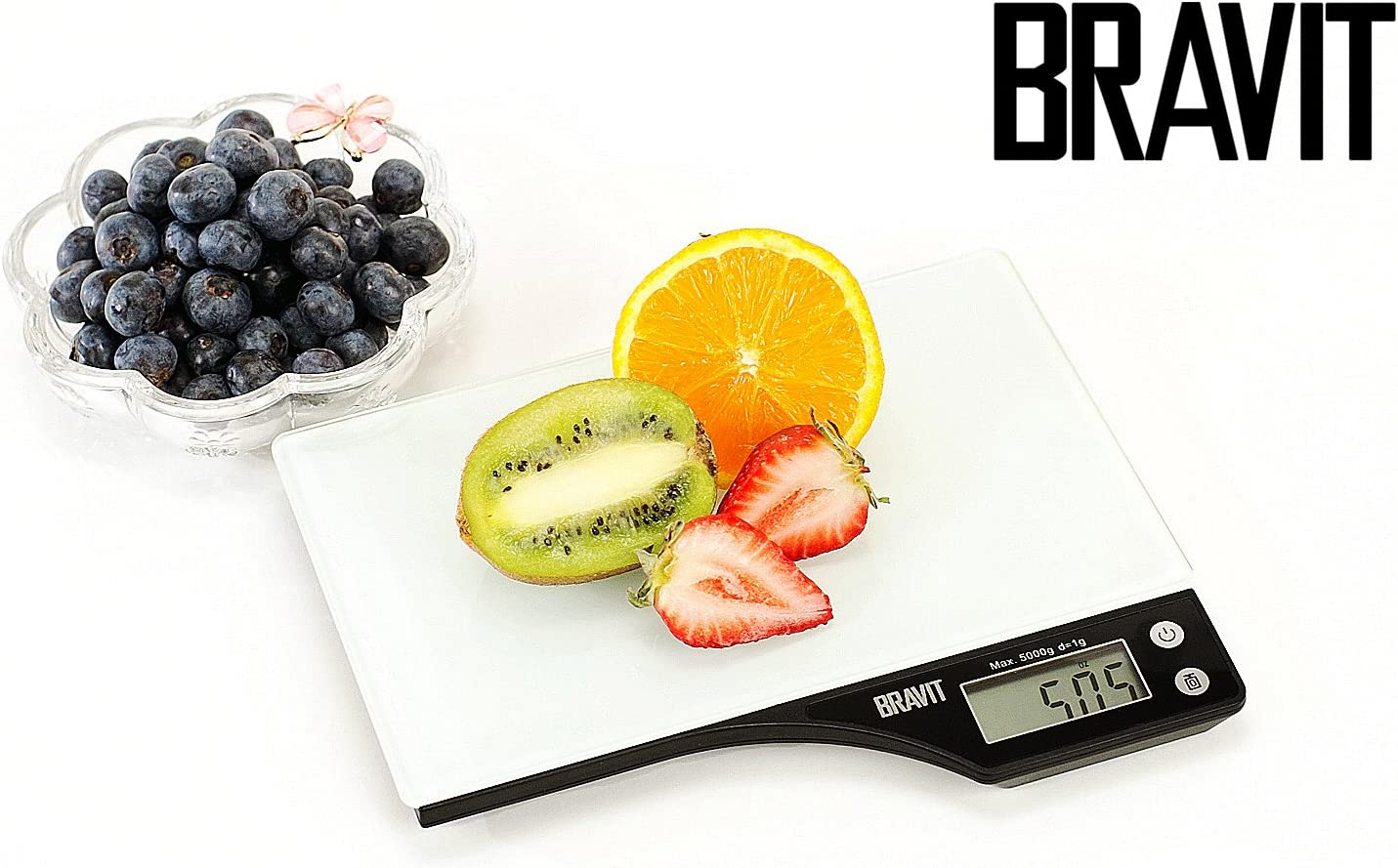 Bravit Digital Kitchen Scale with Tempered 4mm Glass Top