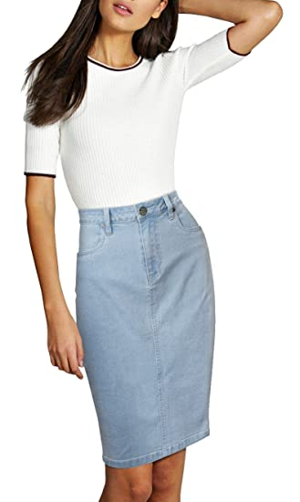 Lexi Womens Super Comfy Perfect Fit Stretch Denim Skirt by Lexi