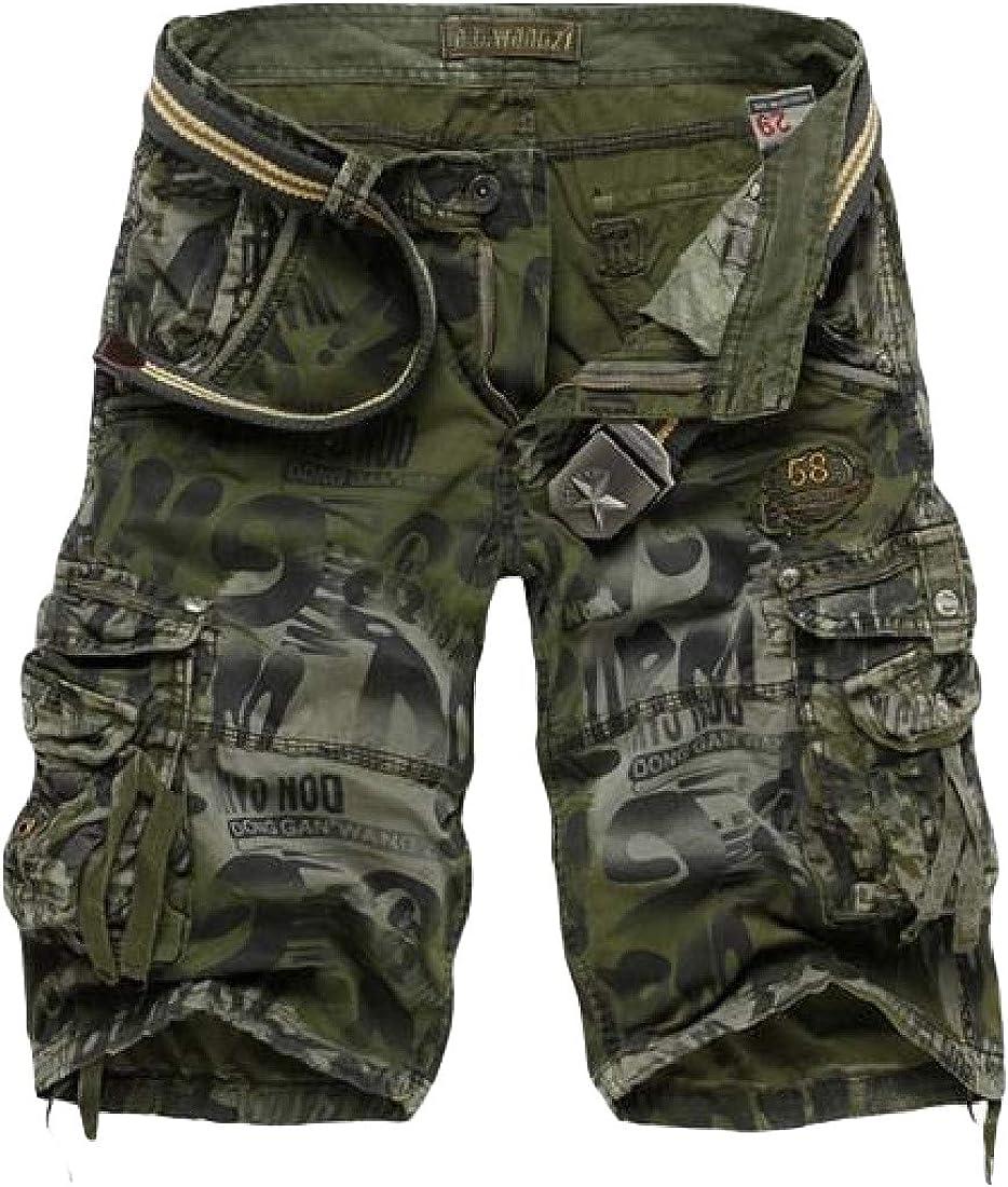 Joe Wenko Mens Bandage Classic Floral Printed Camo Bermuda Multi Pocket Cargo Shorts