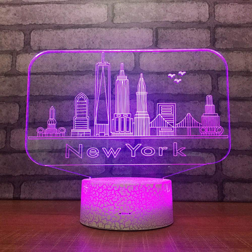 Xiaolaji 3D Iluminación New York City Led Light 7 Color Change ...