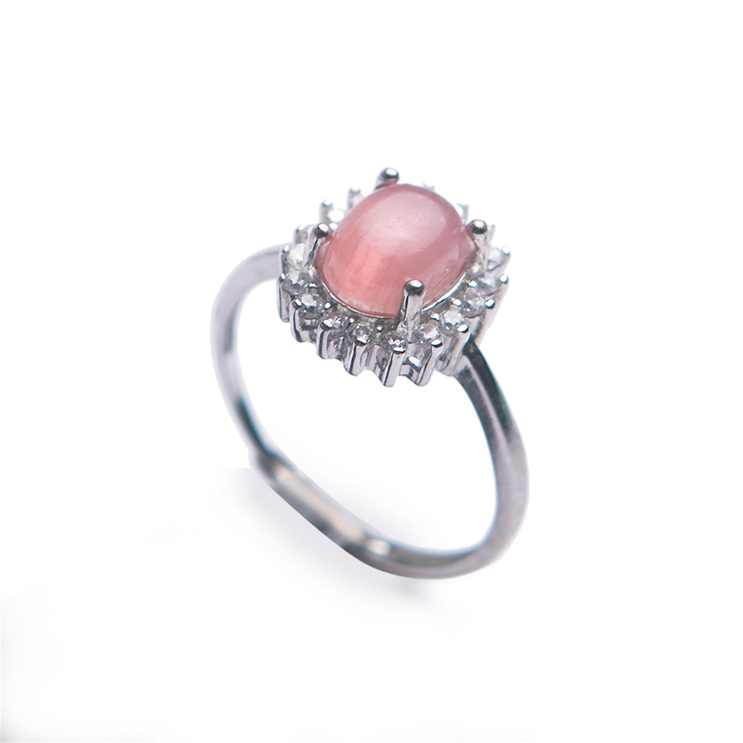 LiZiFang Natural Red Rhodochrosite Gemstone Crystal Fashion Silver Wedding Rings Adjustable Size
